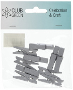 CLUB GREEN Wooden Pegs Silver, Silver, 4 pegs in each pack