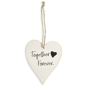 CLUB GREEN Wooden Heart Together/Forever, White, 90 x 110 x 3 mm
