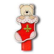 CLUB GREEN Wooden Pegs Bear Xmas Stocking, Red, 4 pegs in each pack