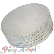 """9"""" ROUND Drum SILVER Cake BOARDS - PACK OF 5 12mm thick"""