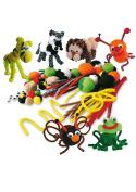 Playbox 100-Piece Fluffy Poms, Basic Colours