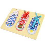 DROVE Wooden Threading Shoe to Tie Shoelaces Learning Baby Early Learning for Children