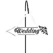 Dosige Wooden Arrow Wedding Sign Hanging Wooden Arrow Direction Sign Board with Rope