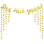 Wicemoon Gold Sparkly Glitter Banner Party Decor Photo Backdrop Party Decoration(she Said Yaaas)