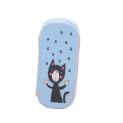Cosanter Pencil Case Bag Little Cat Pattern Large Canvas Cosmetic Glasses Bag for Teen Girls