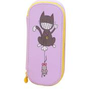 Cosanter Pencil Case Pouch Cute Cat Rat Pattern Large Canvas Makeup Glasses Bag for Girls