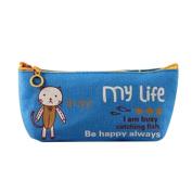 Cosanter Pencil Pouch Case Bag Cute Blue Cat Pattern Light Canvas Makeup Glasses Bag for Women