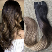 Full Shine 50cm Remy Balayage Hair Bundles Extensions 100% Real Human Hair Full Head Hair Weft on Extensions Colour #1B Off Black Fading to #6 Cheust Brown and #27 Honey Blonde 100Gram Per Package