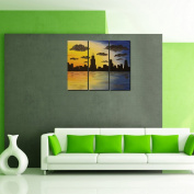 999Store digitally printed laminated wooden framed multiple frames city scape wall Indian art panels like painting 3 Frames