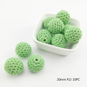 Best for baby Crochet Round Wooden Beads Green 20mm 10PC DIY Beads Handmade Wooden teether Baby Teether Toys Nursing Jewellery Accessories Gift