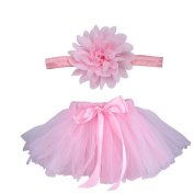 Butterme Baby Newborn Infant Party Costume Cute Mesh Yarn Princess Skirt Flower Headband Set for Photography Props