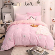 Wx.Pab Bedding Cute Series Washed Cotton Four Sets 1 Quilt 1 Bed Covers 2 Pillowcase , L , 200*230