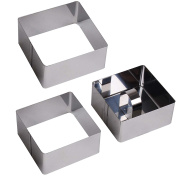 6x Stainless Steel Food Presentation Moulds - Rosti Square Shaper Rings