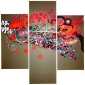 Group Asir LLC 251TRE1992 Three Art Decorative Painting MDF, Multi-Colour