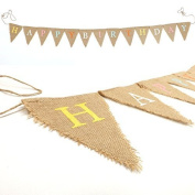 Rustic HAPPY BIRTHDAY Jute Hessian Burlap Bunting Shabby Chic Party Banner