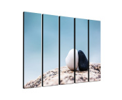 Tranquilly relaxation Yin Yan Stones 5 x 30 x 120 CM XXL extra Large 5–Piece Picture on Canvas and Stretcher Frame, Ready to Hang-Our Images on Canvas captivate with their unusual formats and extremely detailed print from up to 100 Mega Pixel High Res ..