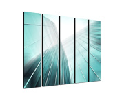 Glassfassade architecture 5 x 30 x 120 CM XXL extra Large 5.Piece Picture on Canvas and Stretcher Frame, Ready to Hang-Our Images on Canvas captivate with their unusual formats and extremely detailed print from up to 100 Mega Pixel High Resolution photos.