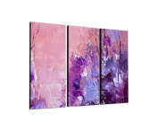 Purple 3-Piece Wall Picture on canvas and stretcher frame ready to hang – Our Pictures on canvas Texture Feature [Ready to Detailed Print up to 100 Megapixels.