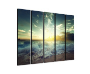 Sea, Beach Breakers 5 x 30 x 120 CM XXL extra Large 5.Piece Picture on Canvas and Stretcher Frame, Ready to Hang-Our Images on Canvas captivate with their unusual formats and extremely detailed print from up to 100 Mega Pixel High Resolution photos.