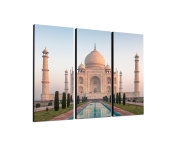 Taj Mahal India 3 x 40 x 90 CM, Three-Piece Wall Picture on Canvas and Stretcher Frame, Ready to Hang-Our Images on Canvas captivate with their unusual formats and extremely detailed print from up to 100 Mega Pixel High Resolution photos.