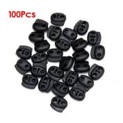 TOOGOO(R) Approx. 100Pcs 2-Hole Bean Plastic Cord Locks Cordlocks Toggles-- Black