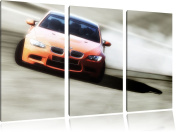 orange BMW3-piece Canvas Art 120x80 image on Canvas XXL Pictures completely framed with large wedge frames, art print on wall picture with frame, cheaper than painting or an oil painting, not a poster or banner