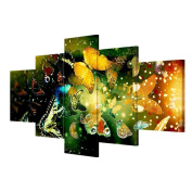 KQS-XYT giclee print Extra Large Canvas Prints 5 pieces / set butterfly living room decorative painting wall paintings (Multi-size optional) , Without Borders , SizeB
