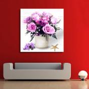DIY 5D Diamond Purple Flower Pot Wall Stickers Painting Home Decor Rhinestone Pasted DIY painting