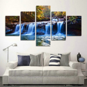 SwmArt 5 Piece Peaceful Waterfall Giclee Canvas Prints Paintings on Canvas Wall Art for Decorations