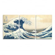 SwmArt seascape landscape canvas painting 3 panels traditional art scenery picture great Wave off Kanagawa Katsushika Hokusai (no frame) Swm26 90cm x 20 inch