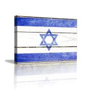JHYS Blue White Lsrael Flag Pattern Retro Wood grain Decoration Canvas Hang Painting