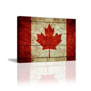 JHYS Canvas Hang Painting Creative Red Canada Flag Pattern Decoration Background Mural 30*40cm