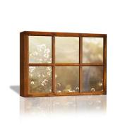 JHYS Canvas Prints Simple Wood grain Window Section Dandelion pattern for Bedside Cabinets Living room Decoration Mural 40cm x 30cm
