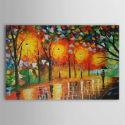 SHENCHI Hand-Painted Landscape / Abstract Landscape One Panel Canvas Oil Painting For Home Decoration , 60cm x 90cm