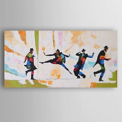 WSJ Hand-Painted Abstract Man Dancers Oil Painting With Stretcher For Home Decoration Ready to Hang , include inner frame , 46cm x 90cm