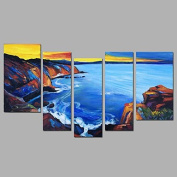 HJL Hand-Painted Abstract Vertical,Modern Three Panels Canvas Oil Painting For Home Decoration , include inner frame