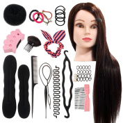Neverland 60cm 50% Real Hair Training Head Hairdressing Mannequin Head With Clamp Free + Braid Set Style 2
