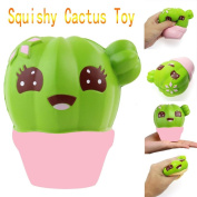 Scented Squishy, JYC 10CM Cactus Cream Scented Squishy Slow Rising Squeeze Strap Kids Toy