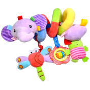 MagiDeal Cute Spiral Activity Stroller Car Seat Cot Lathe Hanging Bell Baby Play Travel Toys Newborn Baby Rattles Infant Soft Plush Toys Elephant
