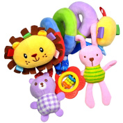 MagiDeal Cute Spiral Activity Stroller Car Seat Cot Lathe Hanging Bell Baby Play Travel Toys Newborn Baby Rattles Infant Soft Plush Toys Lion