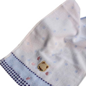 Omkuwl Baby Cartoon Small Bear Towel Soft Cotton Hand Face Towel Baby Cute Children Towel blue