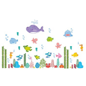 Under the Sea the World Wall Sticker Cartoon Fish Wall Decals Bathroom Window Decorative Sticker