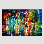 SHENCHI Oil Paintings Modern Landscape Rainy Street Canvas Material With Wooden Stretcher Ready To Hang SIZE:60*90CM. .