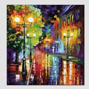 SHENCHI Oil Paintings Modern Landscape Rainy Street Canvas Material With Wooden Stretcher Ready To Hang SIZE:70*70CM. .