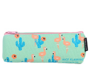 Cosanter Pencil Pouch Bag Holder Canvas Cartoon Green Flamingo Pattern Makeup Glasses Bag for Girls