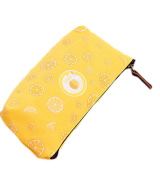 Cosanter Pencil Bag Pouch Holder Cute Orange Pattern Canvas Glasses Makeup Bag for Women Teen Girls