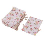 sourcingmap® Cotton Linen Flower Print Outdoor Jewellery Trinket Holder Drawstring Bag 25pcs