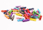 Kanggest 50Pcs Wooden Clothespins Colourful Natural Wooden Pegs 3.5cm Mini Wooden Photo Clips DIY Garden Clip Peg Craft for Wedding Christmas Party Decoration