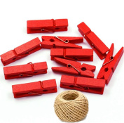 100 Coloured Wooden Large Pegs Clothespins Craft Photo Clips with 20 metres Jute Twine for Craft Rustic Decoration