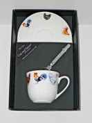 Chicken cup and saucer set, bone china gift boxed set wtih teaspoon